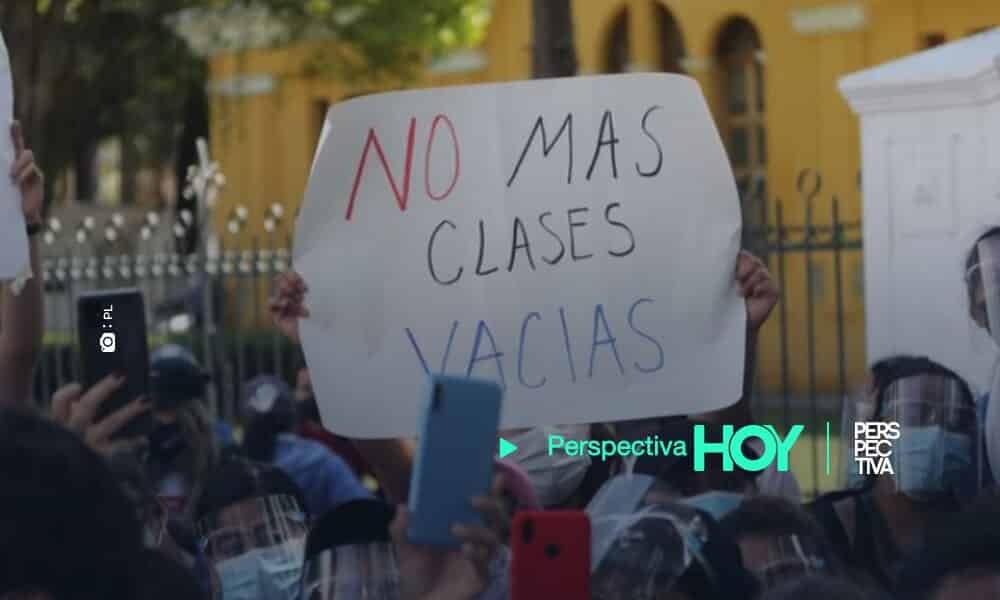 manifestación para exigir clases presenciales