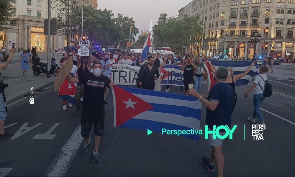 Protestan en Barcelona en contra del Gobierno cubano